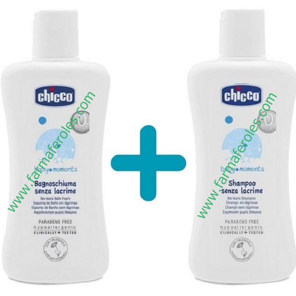 Chicco Baby Moments Pack Espuma Baño 750 ml + Champú 200 ml