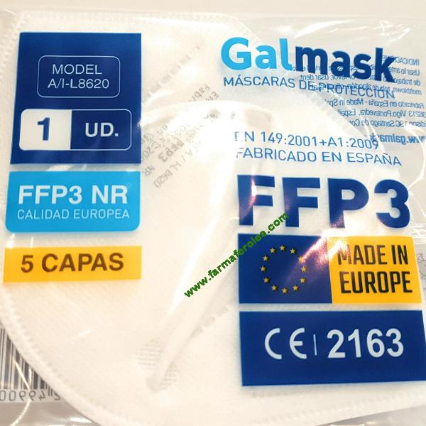 Homologada Tipo III Certificado Oficial CE Fabricada en Espa/ña de 5 capas GALMASK Mascarilla FFP3 99/% de protecci/ón Caja de 20 uds